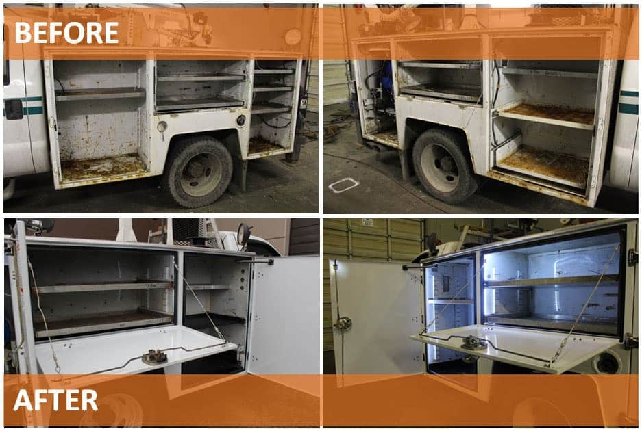before and after picture of a mechanic service truck body